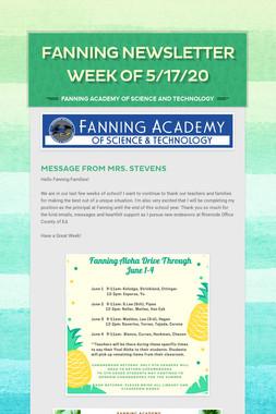 Fanning Newsletter Week of 5/17/20