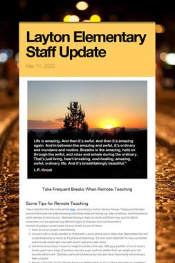 Layton Elementary Staff Update