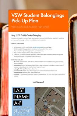 VSW Student Belongings Pick-Up Plan