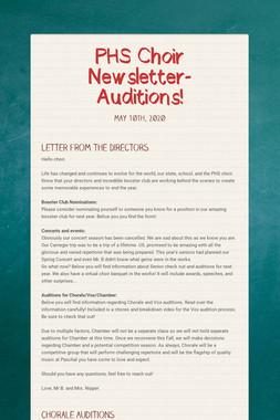 PHS Choir Newsletter-Auditions!