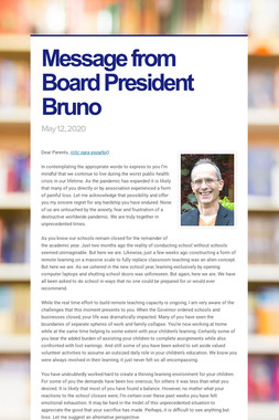 Message from Board President Bruno