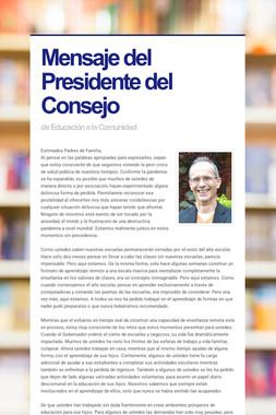 Mensaje del Presidente del Consejo
