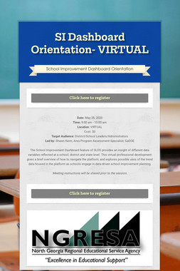 SI Dashboard Orientation- VIRTUAL