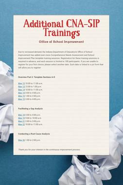 Additional CNA-SIP Trainings