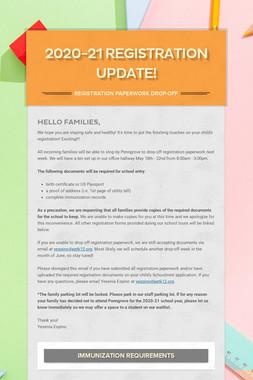 2020-21 Registration Update!