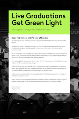 Live Graduations Get Green Light