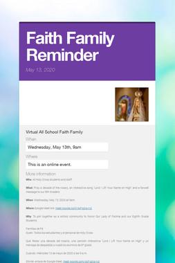 Faith Family Reminder