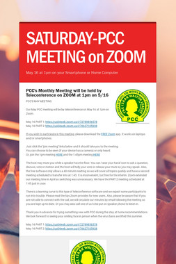 SATURDAY-PCC MEETING on ZOOM