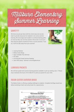 Millburn Elementary Summer Learning