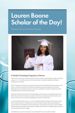 Lauren Boone Scholar of the Day!