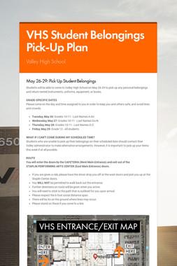 VHS Student Belongings Pick-Up Plan
