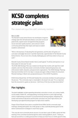 KCSD completes strategic plan