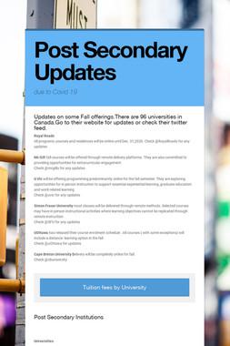 Post Secondary Updates