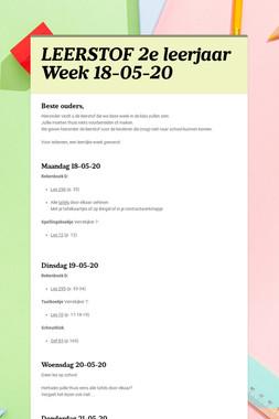 LEERSTOF 2e leerjaar  Week 18-05-20
