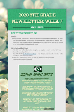 2020 8th Grade Newsletter: Week 7