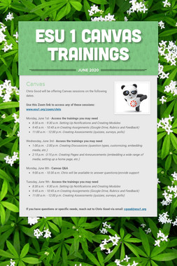 ESU 1 Canvas Trainings