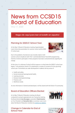 News from CCSD15 Board of Education