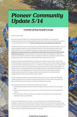 Pioneer Community Update 5/14