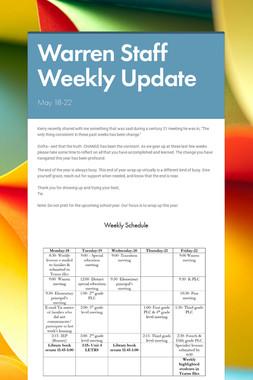 Warren Staff Weekly Update