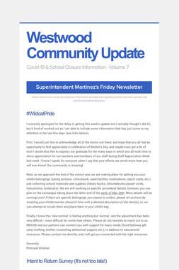 Westwood Community Update