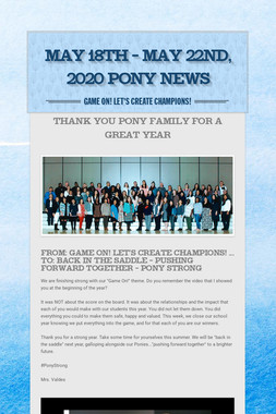 May 18th - May 22nd, 2020 Pony News