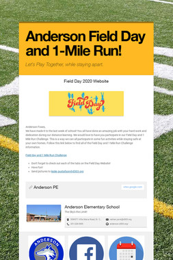 Anderson Field Day and 1-Mile Run!