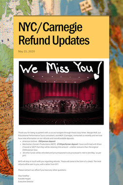 NYC/Carnegie Refund Updates