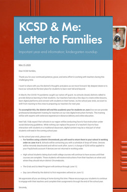 KCSD & Me: Letter to Families