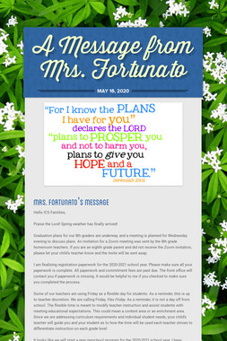 A Message from Mrs. Fortunato