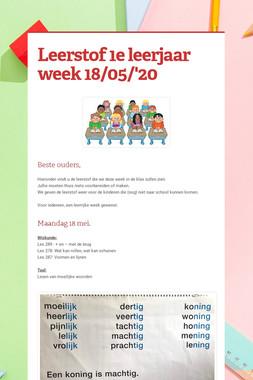 Leerstof 1e leerjaar week 18/05/'20