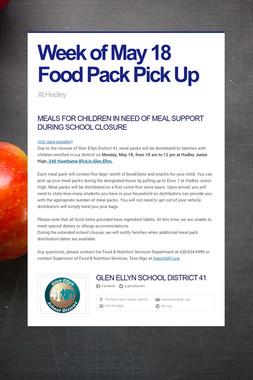 Week of May 18 Food Pack Pick Up