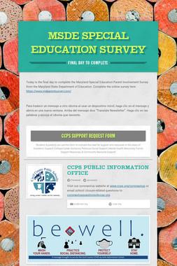 MSDE Special Education Survey