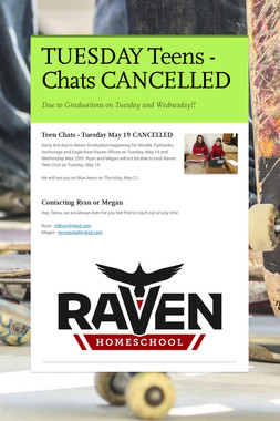 TUESDAY Teens - Chats CANCELLED