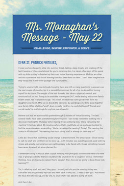 Ms. Monaghan's Message - May 22