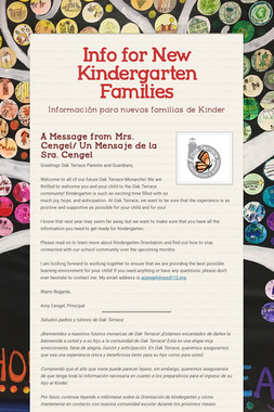 Info for New Kindergarten Families