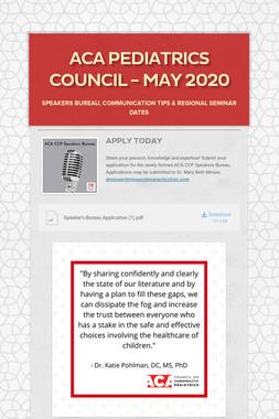 ACA Pediatrics Council - May 2020