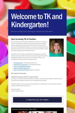 Welcome to TK and Kindergarten!