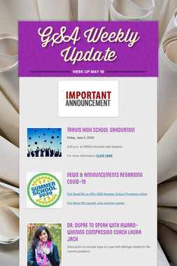 GSA Weekly Update