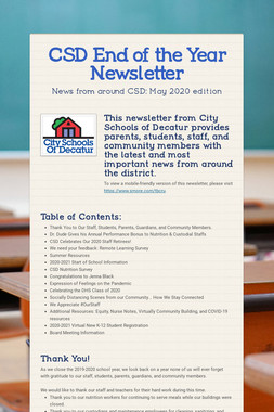 CSD End of the Year Newsletter