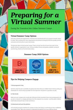 Preparing for a Virtual Summer