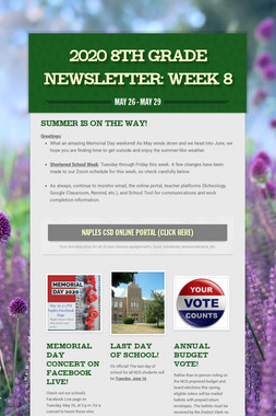 2020 8th Grade Newsletter: Week 8