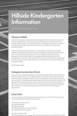 Hillside Kindergarten Information