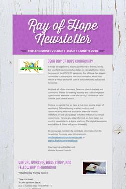 Ray of Hope Newsletter