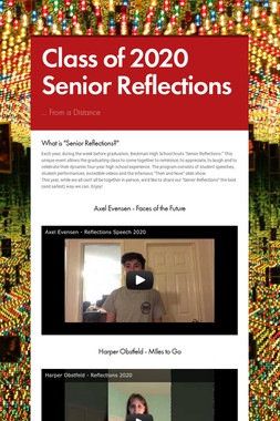 Class of 2020 Senior Reflections
