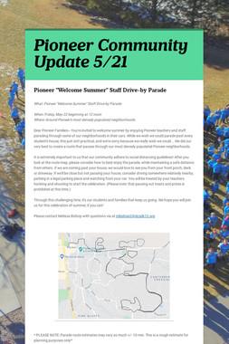 Pioneer Community Update 5/21