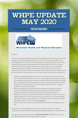 WHPE  Update MAY 2020
