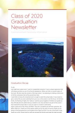 Class of 2020 Graduation Newsletter