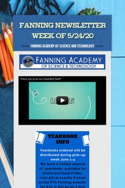 Fanning Newsletter Week of 5/24/20