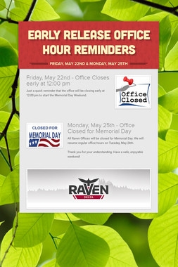 Early Release Office Hour Reminders