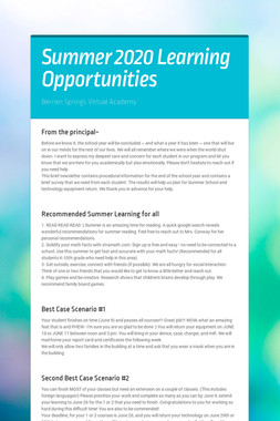 Summer 2020 Learning Opportunities